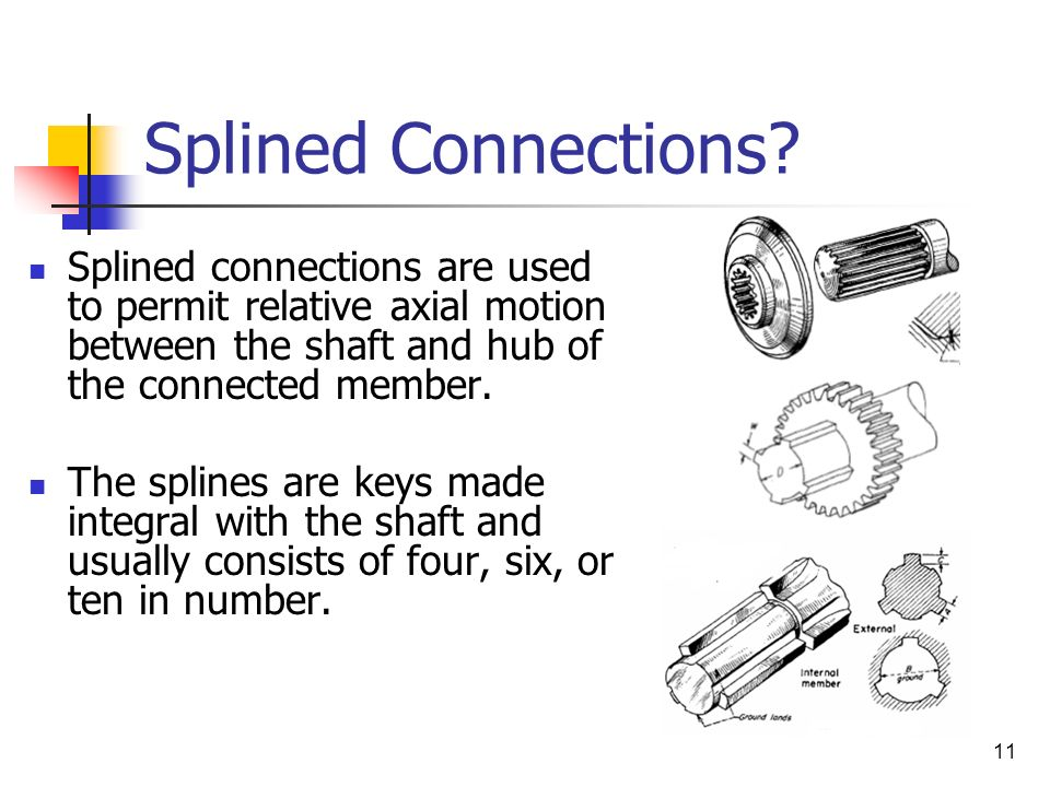 Splined Connections Splined connections are used to permit relative axial motion between the shaft and hub of the connected member.