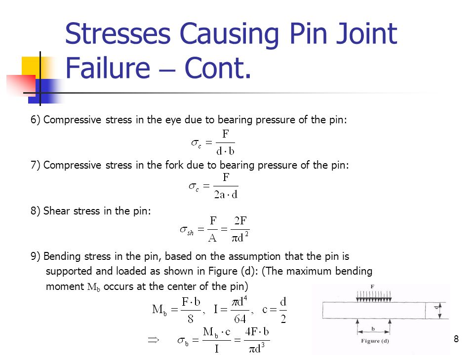 Stresses Causing Pin Joint Failure – Cont.
