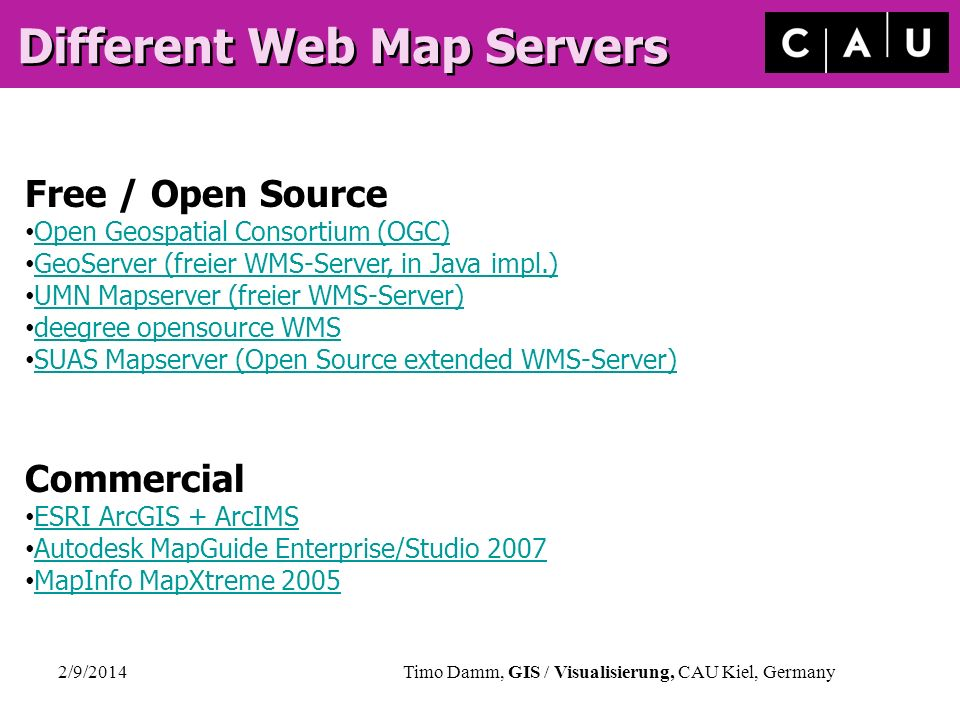 Different Web Map Servers