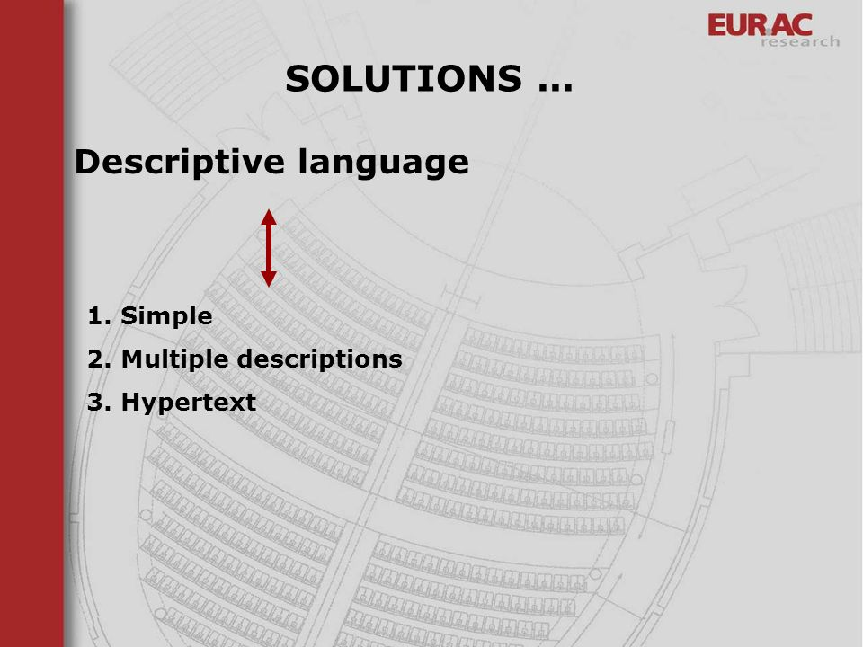 SOLUTIONS ... Descriptive language 1. Simple 2. Multiple descriptions