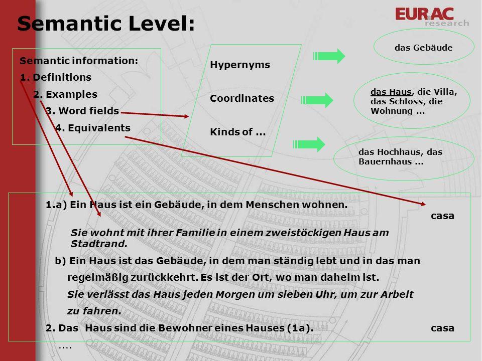 Semantic Level: Semantic information: 1. Definitions Hypernyms
