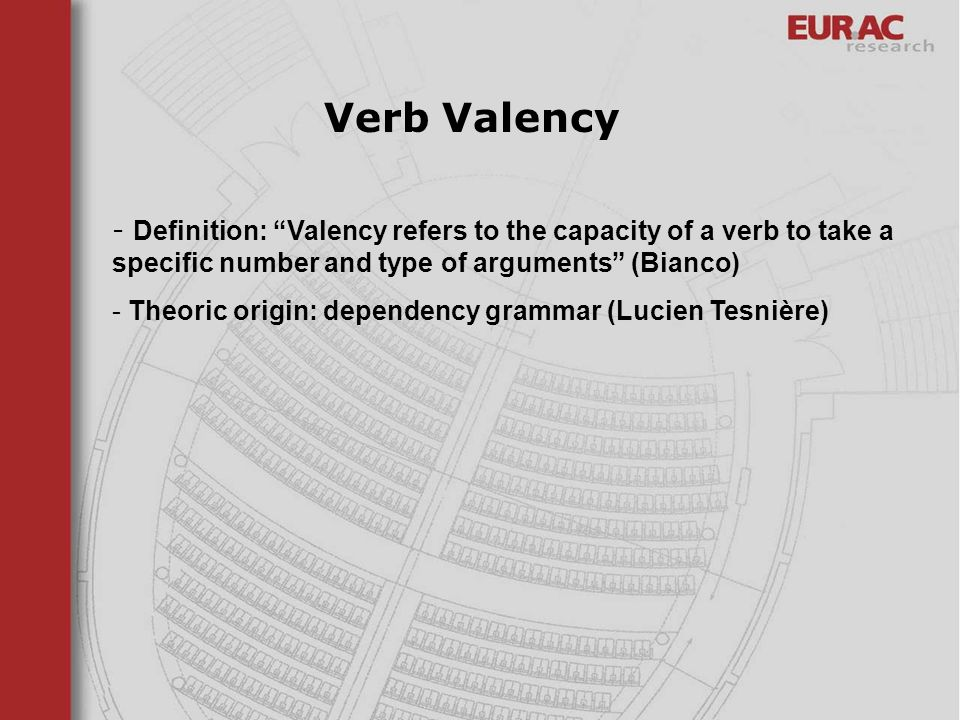 Verb Valency Definition: Valency refers to the capacity of a verb to take a specific number and type of arguments (Bianco)