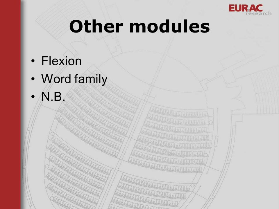 Other modules Flexion Word family N.B.
