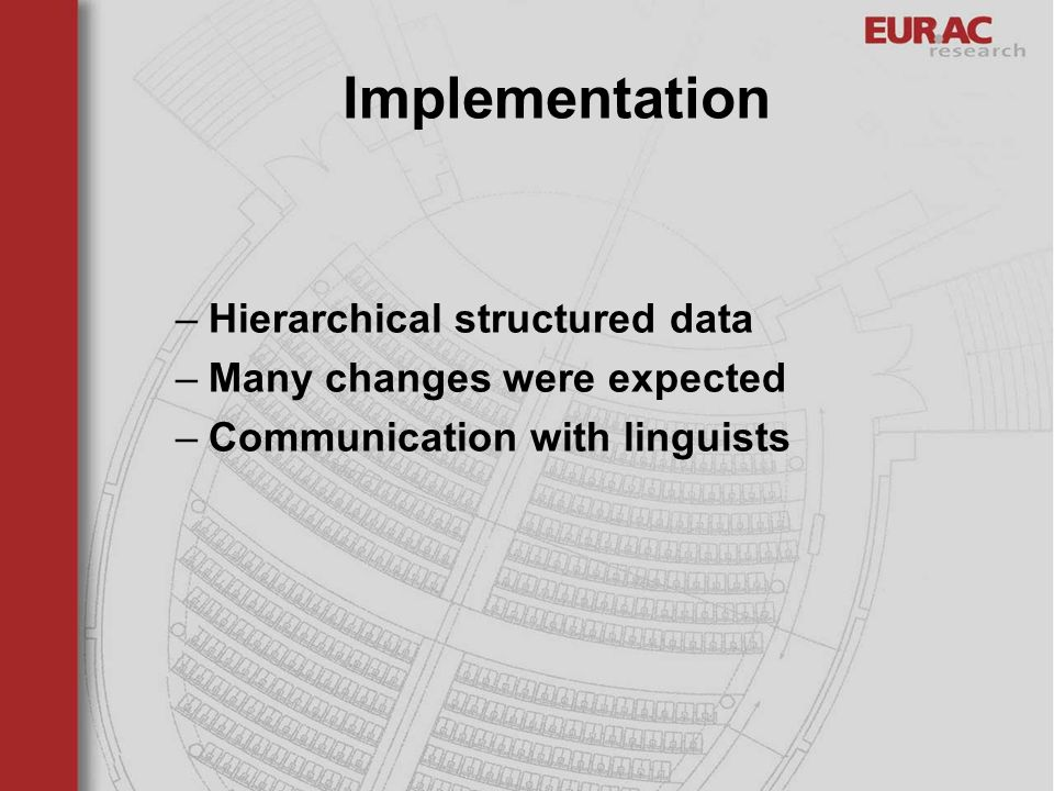Implementation Hierarchical structured data Many changes were expected