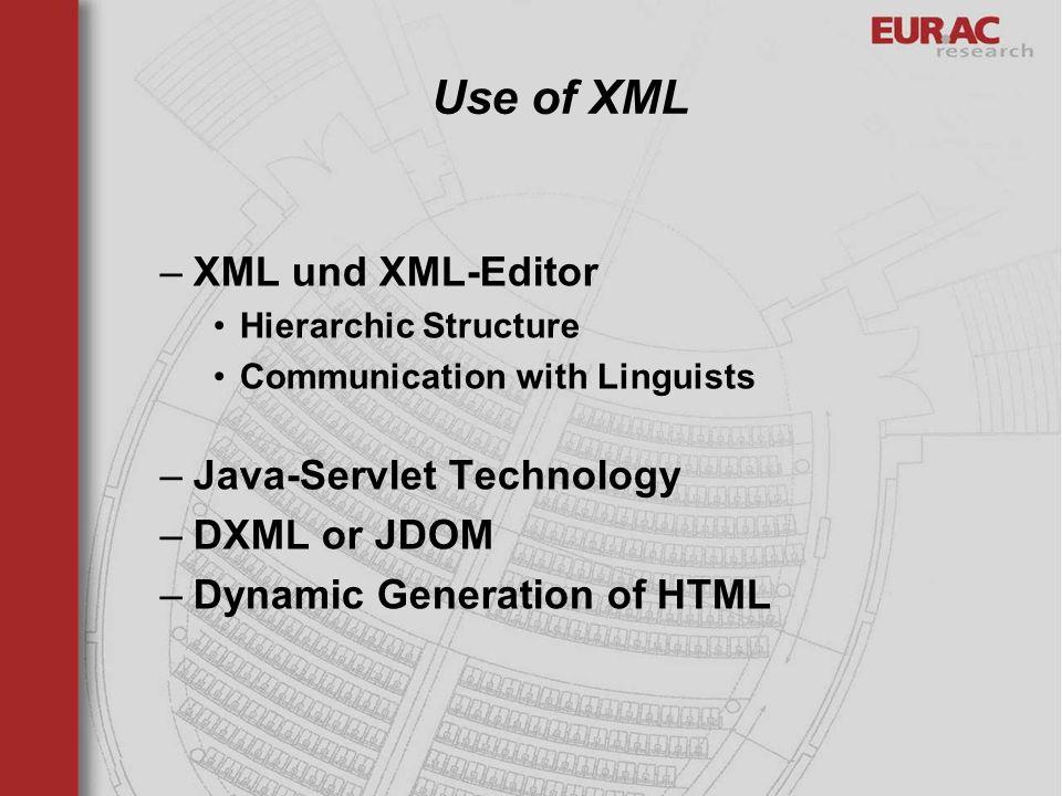 Use of XML XML und XML-Editor Java-Servlet Technology DXML or JDOM