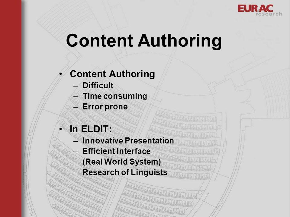 Content Authoring Content Authoring In ELDIT: Difficult Time consuming