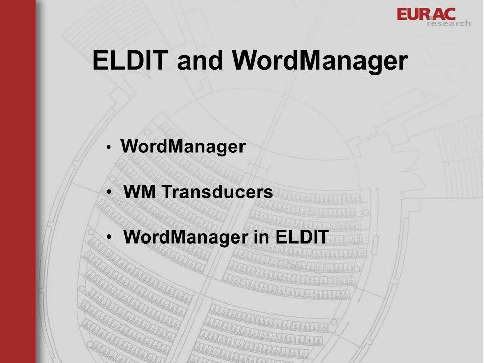 ELDIT and WordManager WordManager WM Transducers WordManager in ELDIT