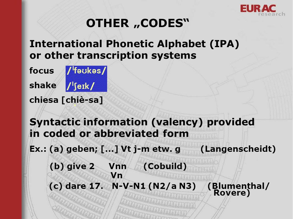 "OTHER ""CODES International Phonetic Alphabet (IPA) or other transcription systems. focus. shake."