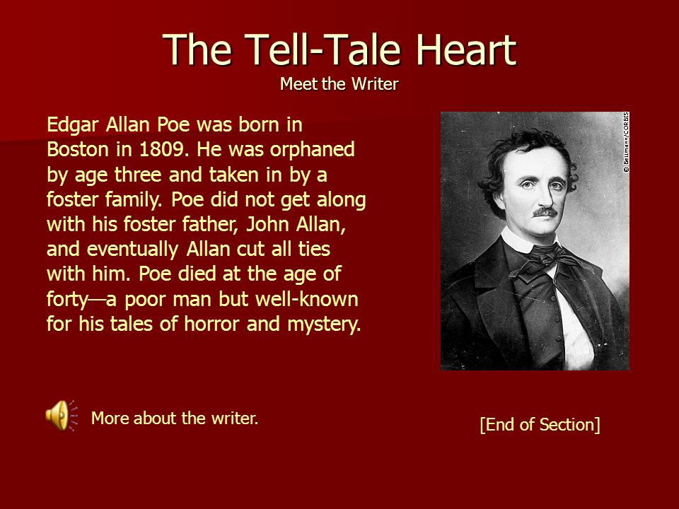 tell tale heart essay suspense Symbolism in edgar allen poe's the tell-tale heart essay suspense in edgar allen poe's the tell-tale the tell-tale heart and the symbolism of the eye.