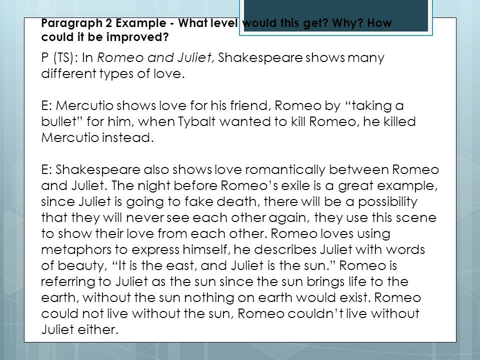 Revision Focus Romeo And Juliet.