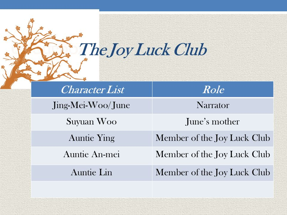 an analysis of the story of joy luck club The joy luck club: character analysis / literature analysis by amy tan  she also founded a second joy luck club she shared the story of her past with .