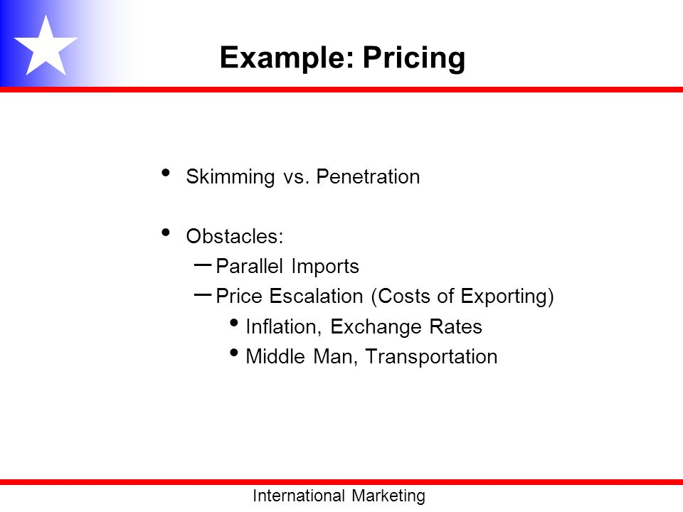 Example: Pricing Skimming vs. Penetration Obstacles: Parallel Imports