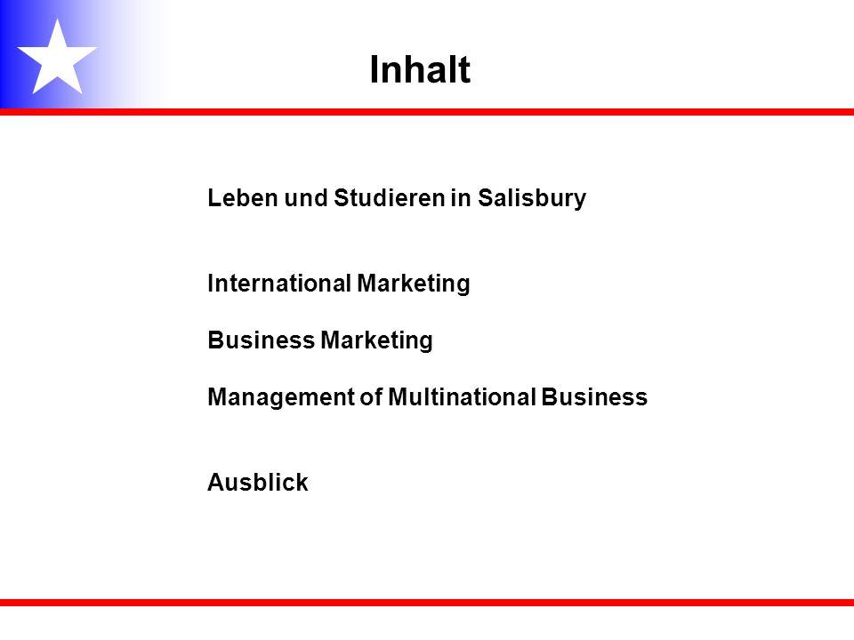 Inhalt Leben und Studieren in Salisbury International Marketing