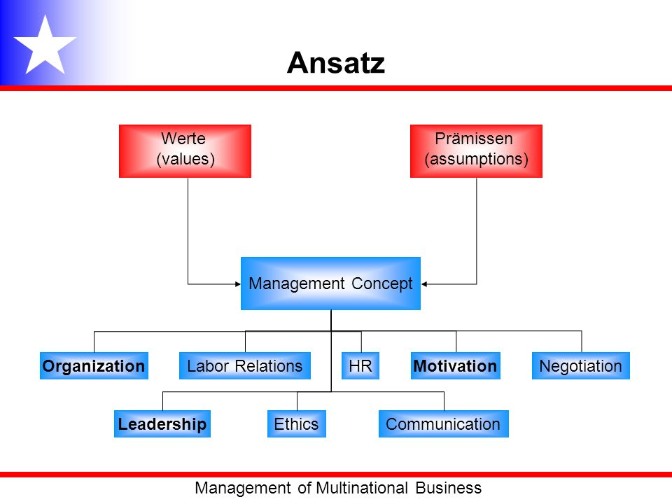 Ansatz Werte (values) Prämissen (assumptions) Management Concept