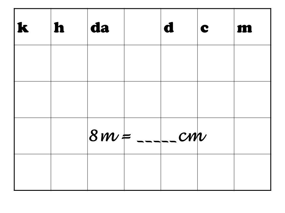 k h da d c m 8m = _____cm