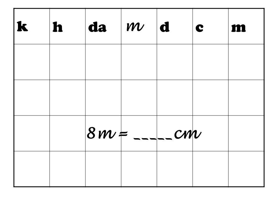 k h da m d c 8m = _____cm