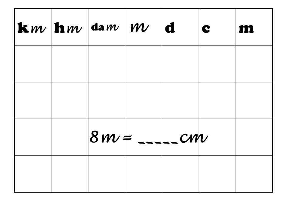 km hm dam m d c 8m = _____cm