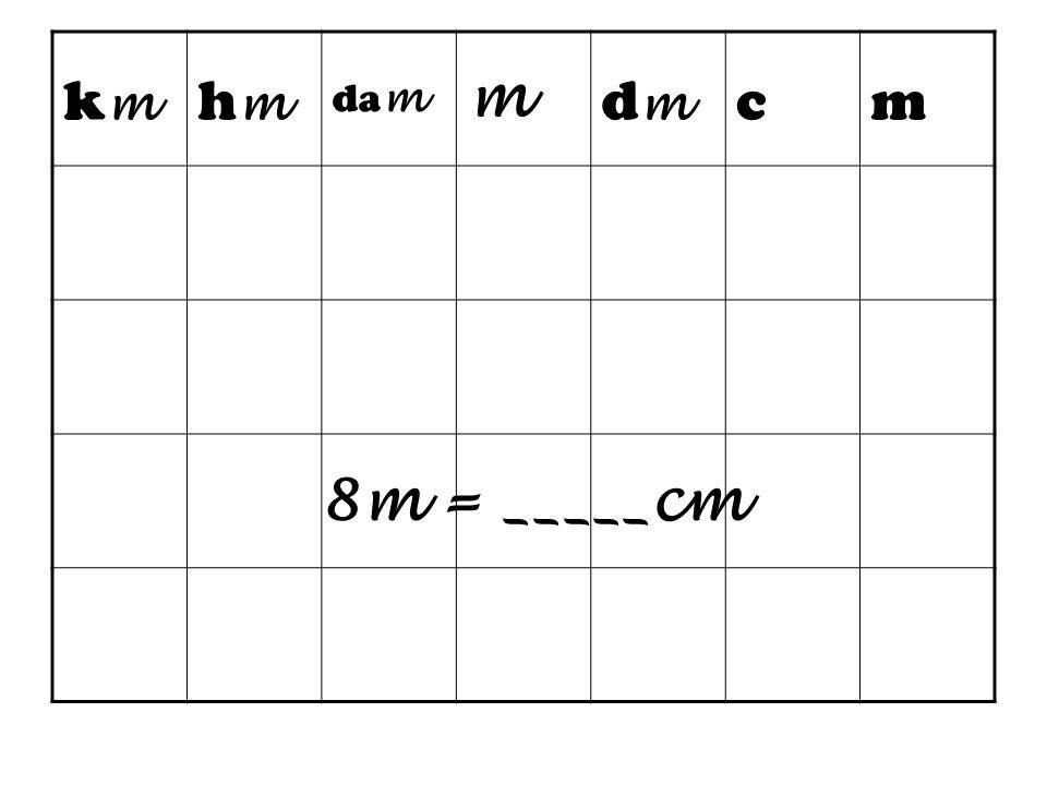 km hm dam m dm c 8m = _____cm