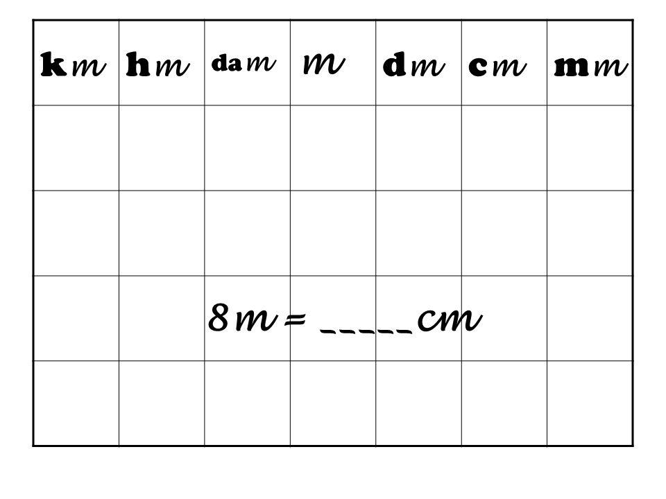 km hm dam m dm cm mm 8m = _____cm