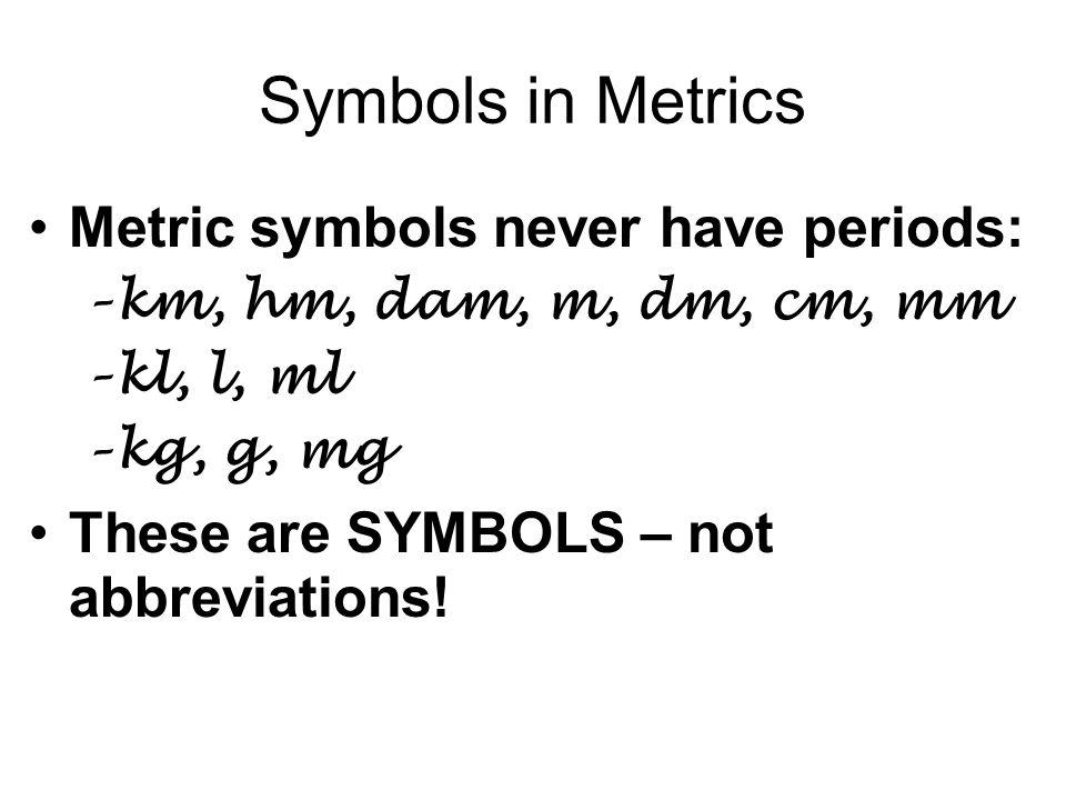 Symbols in Metrics Metric symbols never have periods: