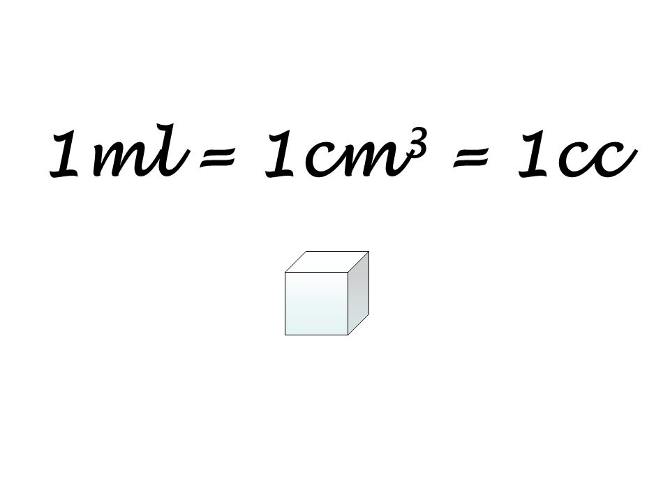 1ml = 1cm3 = 1cc