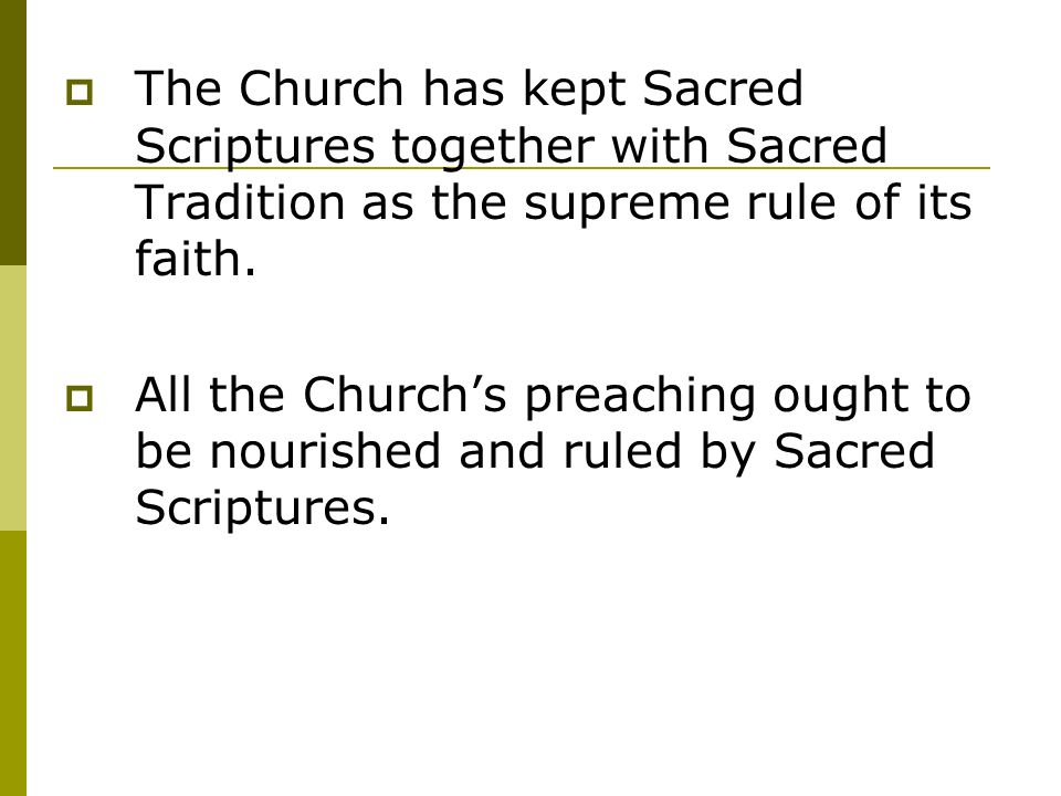 sacred scripture and sacred tradition essay The words of sacred scripture do not speak on their own authority, but come from sacred tradition and are a work of sacred tradition believe that scripture is in tradition and tradition is in scripture.