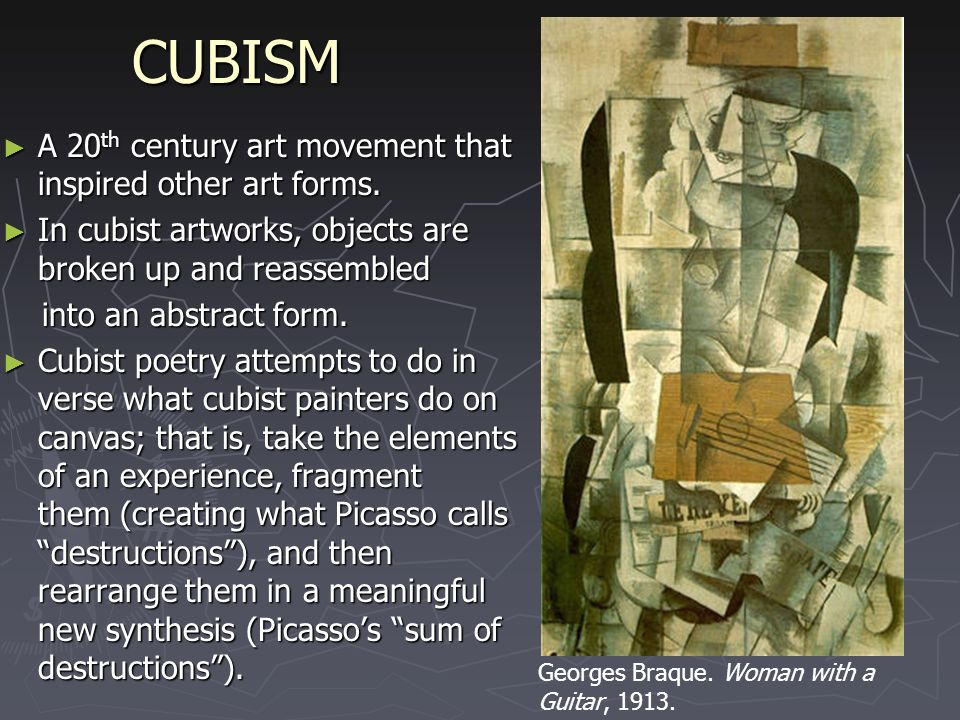 """the development of cubism into different forms of art Take a glimpse into the world of cubism-inspired works on artmine  cubism  was a truly revolutionary style of modern art developed by pablo  an attempt by  artists to revitalize the tired traditions of western art, this art form  by a constant  exploration of different languages and artistic formats,"""" she says."""