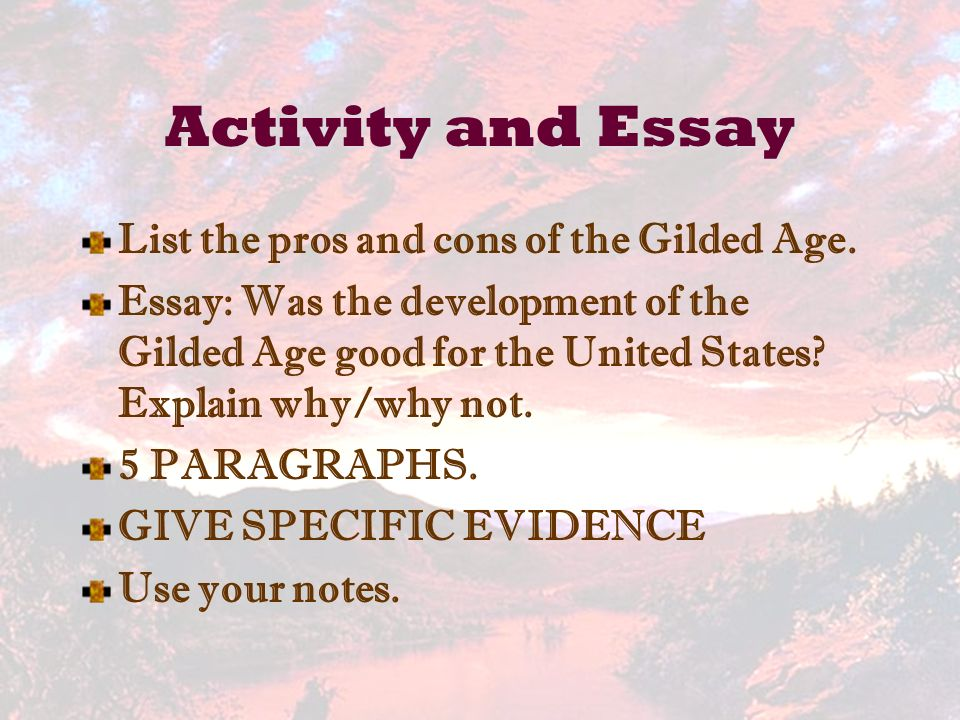 vocabulary use words in sentences ppt video online  activity and essay list the pros and cons of the gilded age