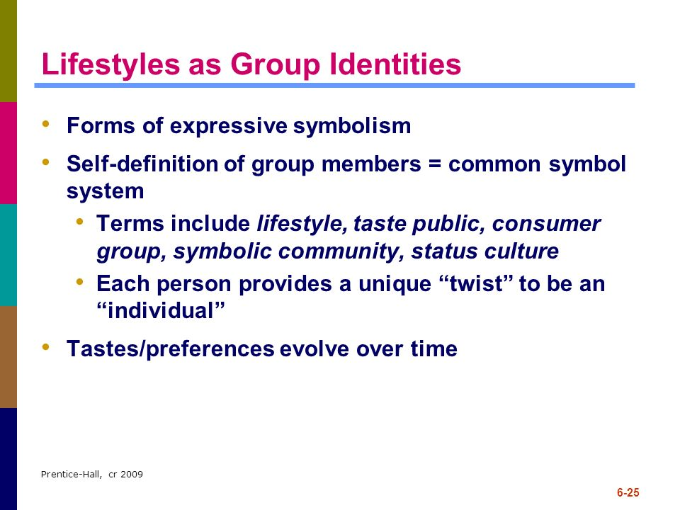 Lifestyles as Group Identities