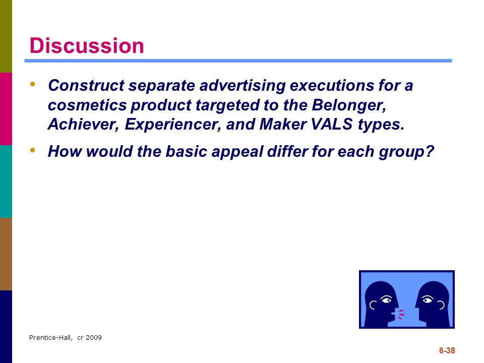 Discussion Construct separate advertising executions for a cosmetics product targeted to the Belonger, Achiever, Experiencer, and Maker VALS types.