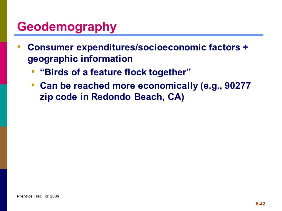 Geodemography Consumer expenditures/socioeconomic factors + geographic information. Birds of a feature flock together