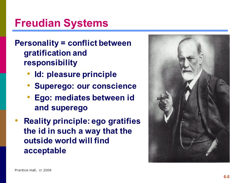 Freudian Systems Personality = conflict between gratification and responsibility. Id: pleasure principle.