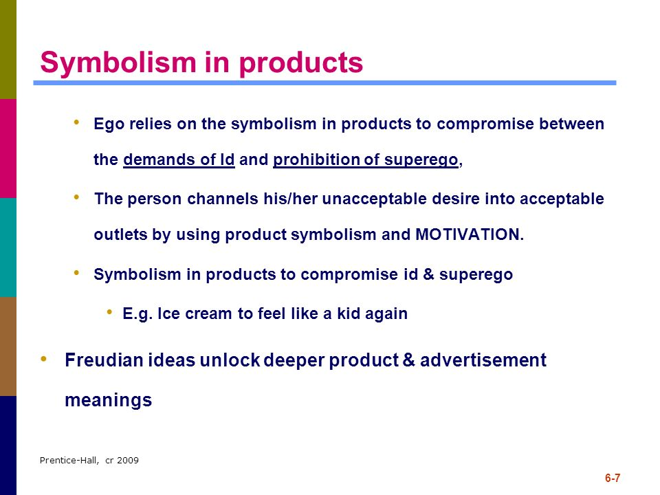 Symbolism in products Ego relies on the symbolism in products to compromise between the demands of Id and prohibition of superego,