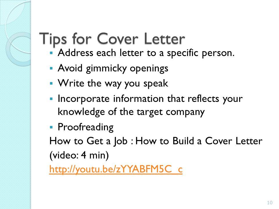 10 tips for cover letter