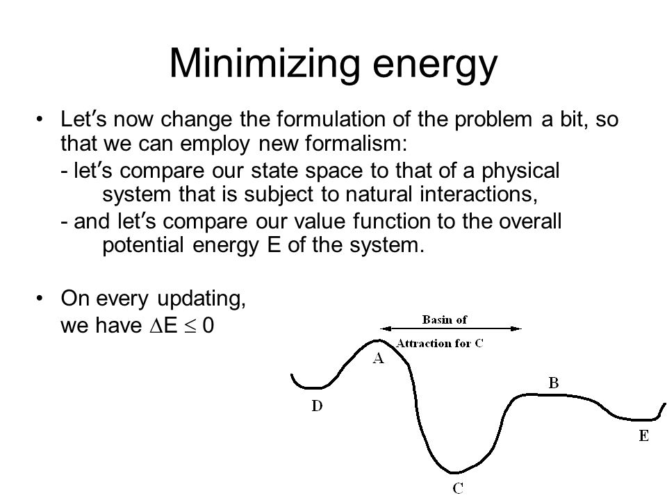 Minimizing energy Let's now change the formulation of the problem a bit, so that we can employ new formalism: