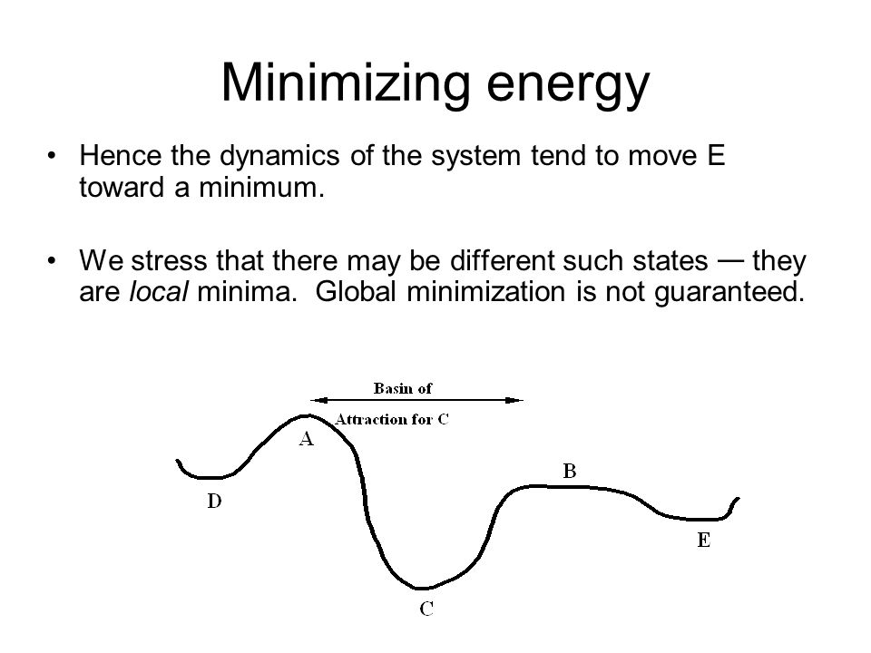 Minimizing energy Hence the dynamics of the system tend to move E toward a minimum.