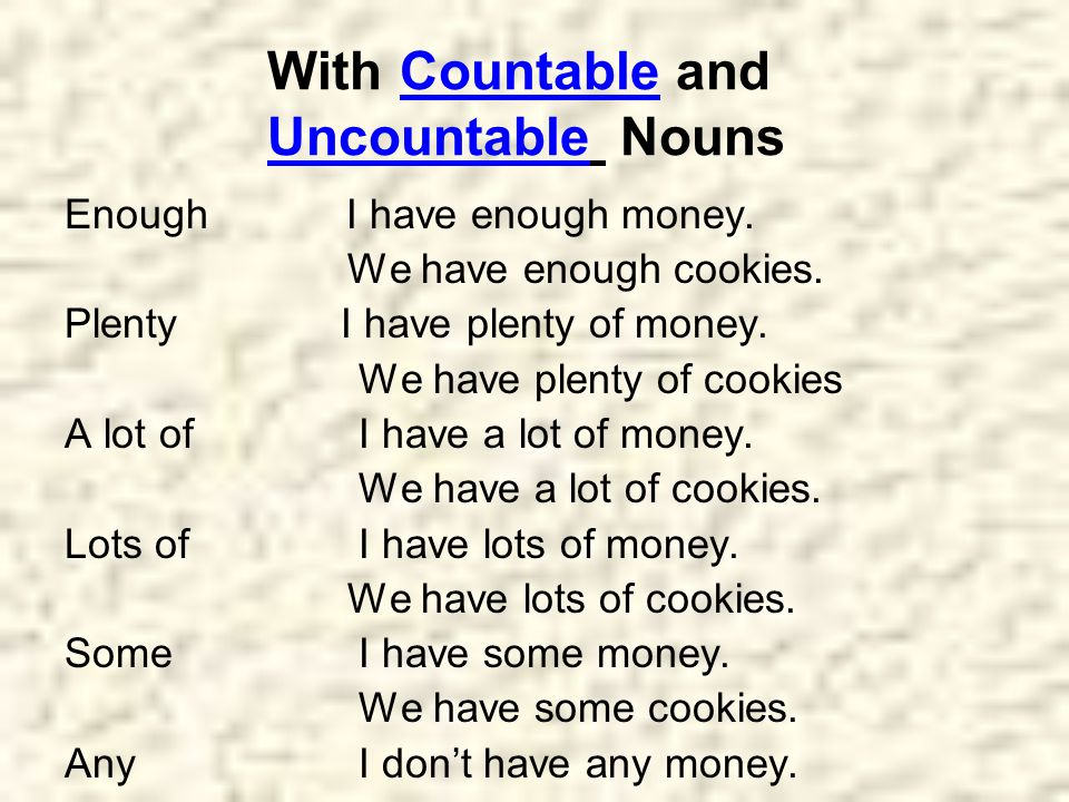 With Countable and Uncountable Nouns