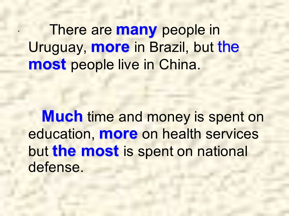 · There are many people in Uruguay, more in Brazil, but the most people live in China.