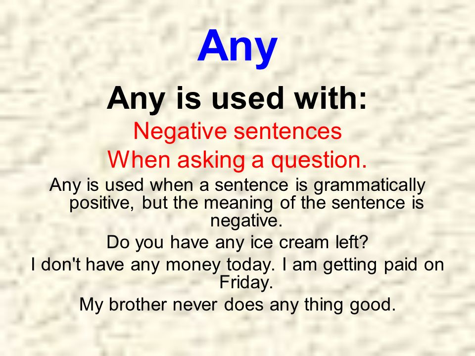 Any Any is used with: Negative sentences When asking a question.