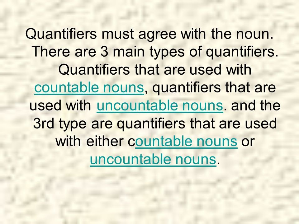 Quantifiers must agree with the noun
