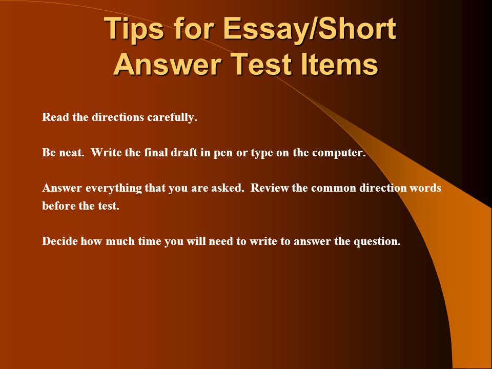 Test Taking Strategies for Short Answer and Essay Tests