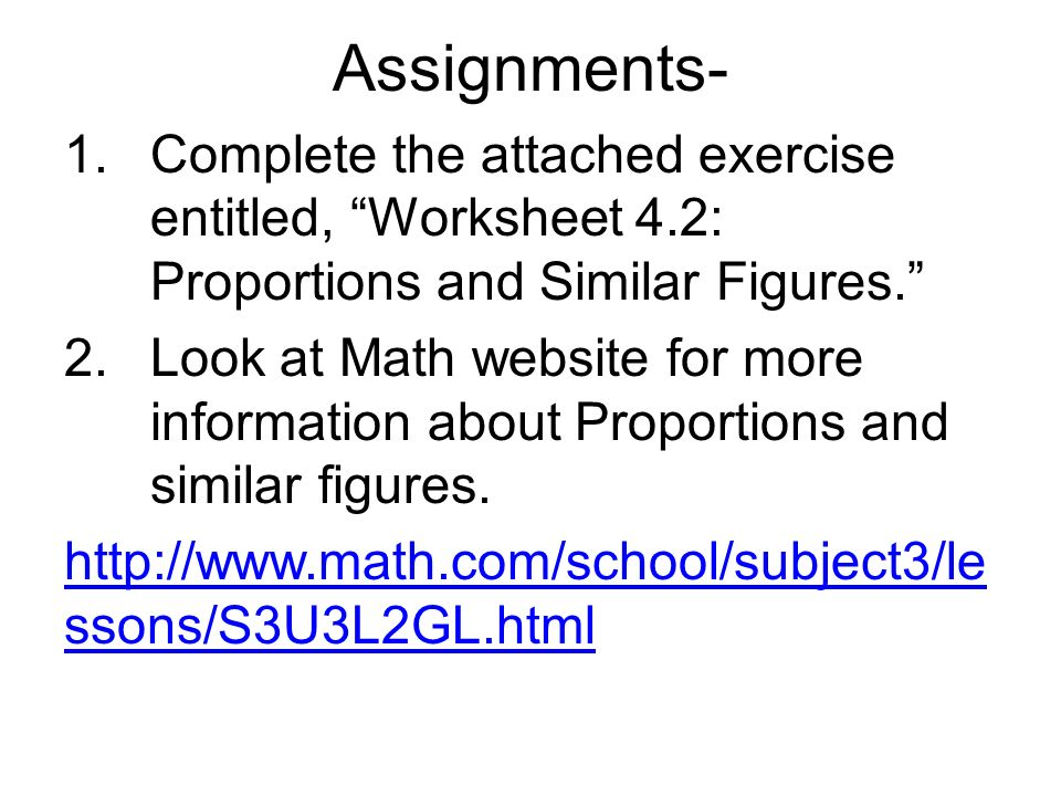 Welcome to Math 6 Todays subject is Proportions and Similar – Similar Figures and Proportions Worksheet