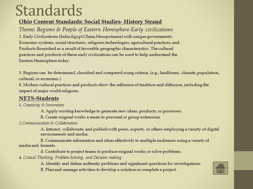 Standards Ohio Content Standards: Social Studies- History Strand
