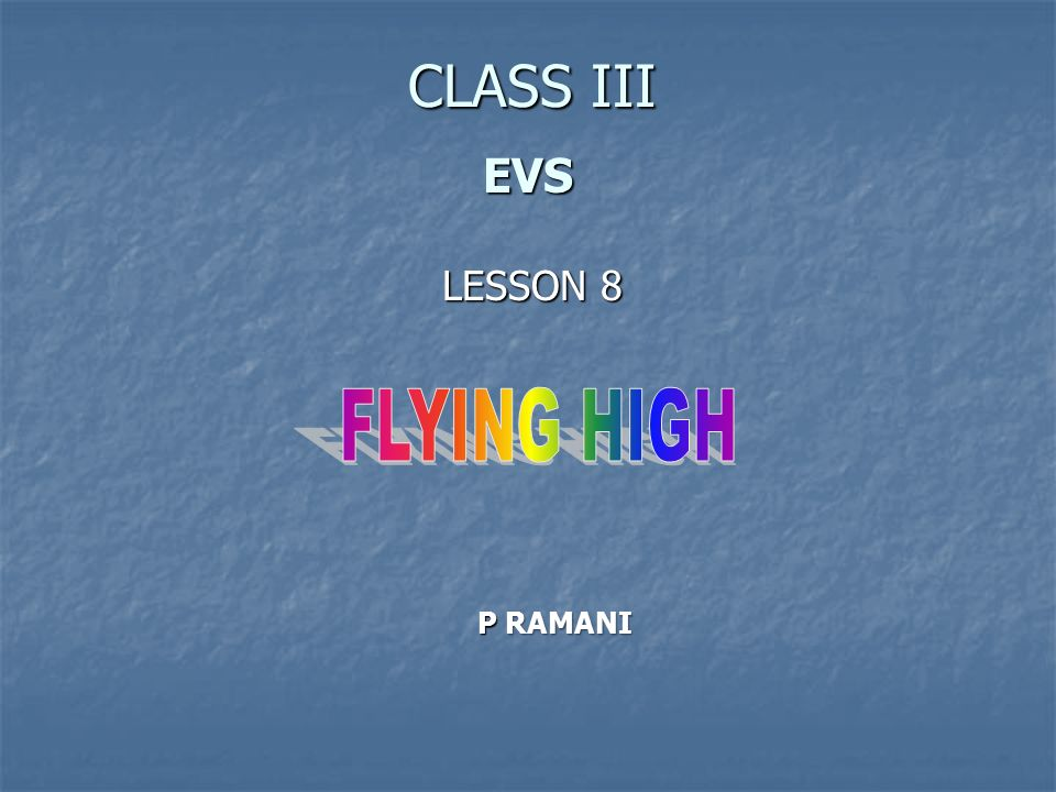 CLASS III EVS LESSON 8 FLYING HIGH P RAMANI