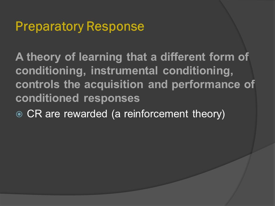 respondent and instrumental conditioning as related Start studying respondent & operant behavior learn vocabulary, terms, and more with flashcards, games, and other study tools respondent conditioning (pavlov.
