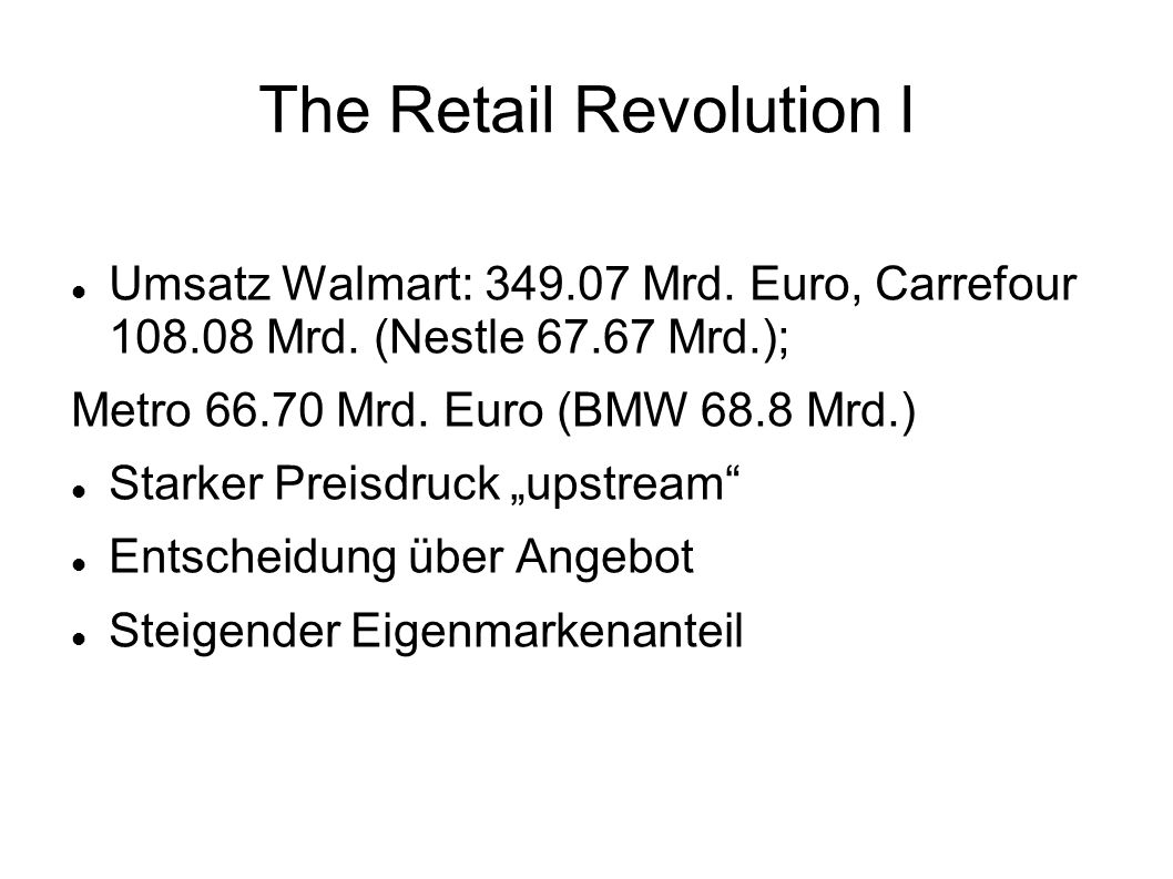 The Retail Revolution I