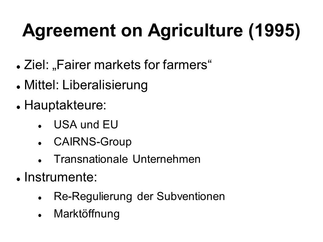 Agreement on Agriculture (1995)