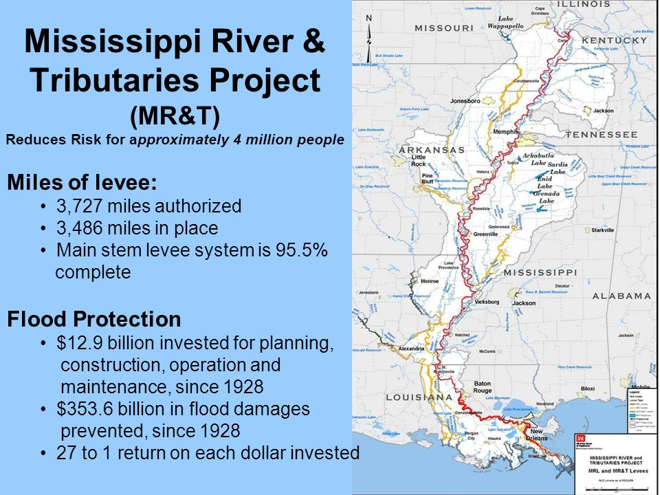 Mississippi River & Tributaries Project (MR&T) Reduces Risk for approximately 4 million people