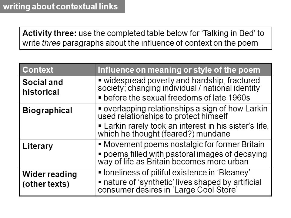 contextual linking essay While most of you have already had experience of essay writing, it is important to  realise that essay writing at  mastery of the relevant background material ( contextual, critical, theoretical), and  make the links and transitions between.