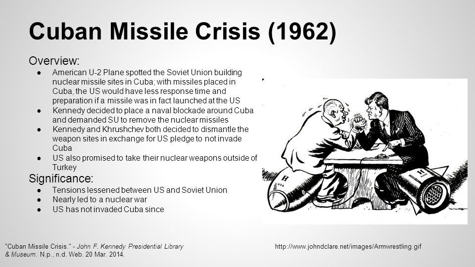 significance of cuban missile crisis The significance of cuban missile crisis is that it forced to great nations and super powers to reconsider a nuclear war and also determine that they have to coexist peacefully even though they were enemies the cuban missile crisis brought the world very close to a possible third world war and a .